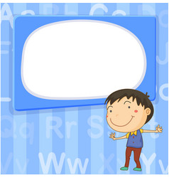 Border template with boy on blue background vector