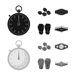 Boxing sport stopwatch watch boxing set vector