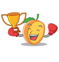 boxing winner apricot mascot cartoon style vector image