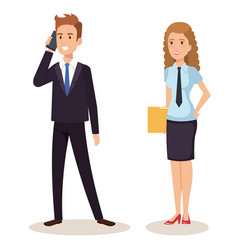 business couple isometric avatars vector image