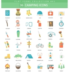 Camping color flat icon set Elegant style vector image