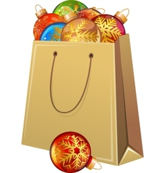 Cardboard packet full of Christmas glass balls vector image