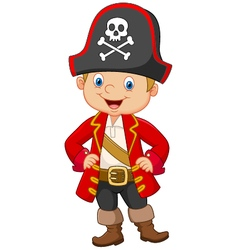 Cartoon little boy pirate captain vector image