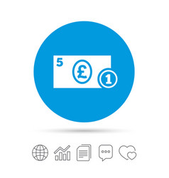 Cash sign icon pound money symbol coin vector