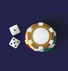 Casino background dice and chips top view of dice vector