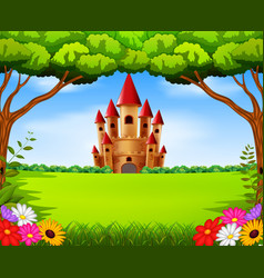 Castle towers in the field scenery vector