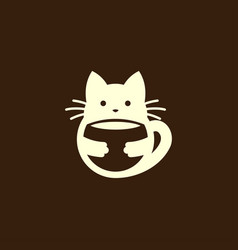 cat silhouette holding a cup or bowl vector image