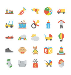 children and kids flat icons vector image