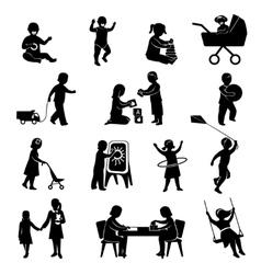 Children Black Set vector image