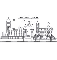cincinnati ohio architecture line skyline vector image