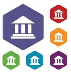Classical building hexagon icon set vector