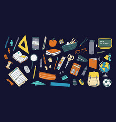 collection school stationery and tools vector image