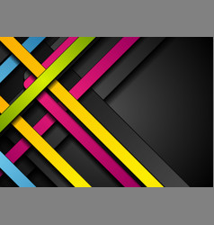 Colorful abstract stripes on black background vector