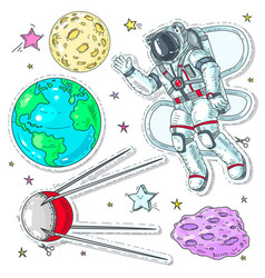 colorful icons stickers astronaut spaceman vector image