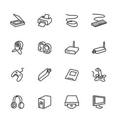 Computer accessories line icon set vector