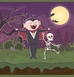 Count dracula skeleton bats moon night halloween vector