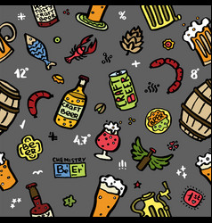 craft beer hand drawn elements pattern vector image