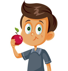 cute boy eating an apple cartoon vector image