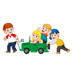 dad and his child playing with big toy car vector image