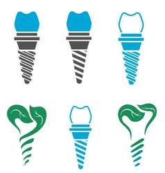 Dental implant symbols vector