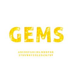 Diamond alphabet font realistic style abc vector