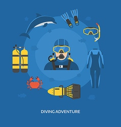 Diving Concept with Diver Man vector