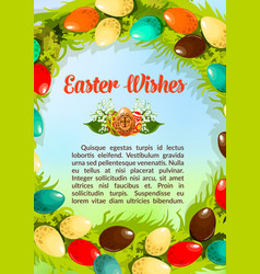 Easter wishes paschal eggs poster template vector