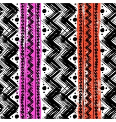 Ethnic pattern hand painted with zigzag vector