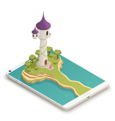 Fairy tale smartphone isometric composition vector