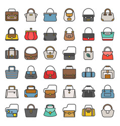 Fashion bag filled outline icon in various style vector
