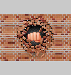 fist punches hole in wall power strength vector image