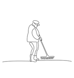 Gardener old man with shovel continuous one line vector