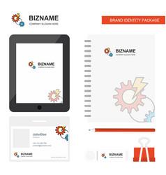 gear business logo tab app diary pvc employee vector image