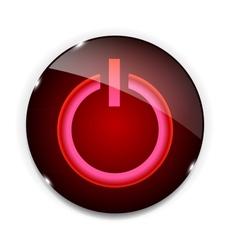 Glass power button icon vector image