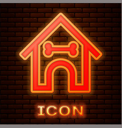 Glowing neon dog house and bone icon isolated on vector