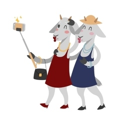 Goat girls couple friends portrait vector