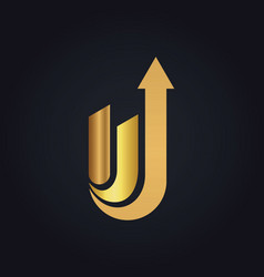 Gold abstract arrow logo vector
