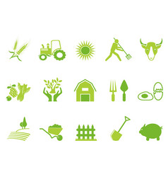 green color farm icon set vector image