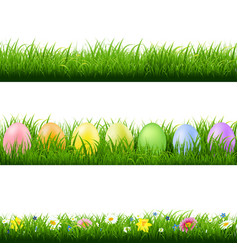 green grass borders collection white background vector image