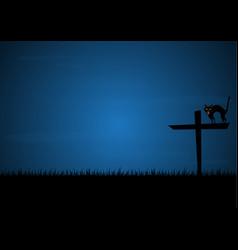 Halloween growl black cat cross graveyard vector