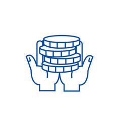 hands with moneys line icon concept hands with vector image