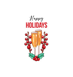 happy holidays greeting card template vector image