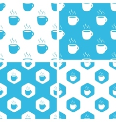 Hot drink patterns set vector image