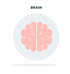 human brain in a gray circle flat isolated vector image