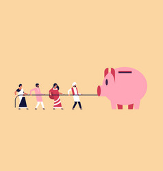 indian people team pulling rope piggy bank money vector image