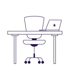 Isolated office chair desk and laptop vector