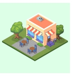 Isometric cute restaurant cafe building with vector