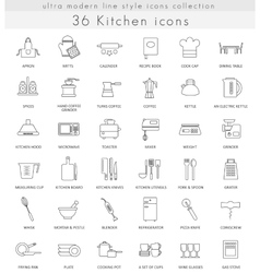 Kitchen ultra modern outline line icons for vector
