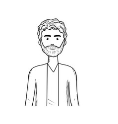 Line cute man with hairstyle and beard vector