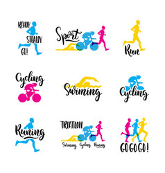 Logo sport triathlon vector